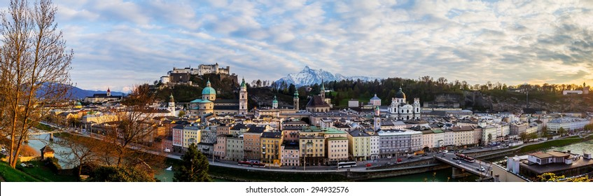 Salzburg fortress panorama and big photo at sunset. It's very beauty sightseeing from view point of opposite public park.