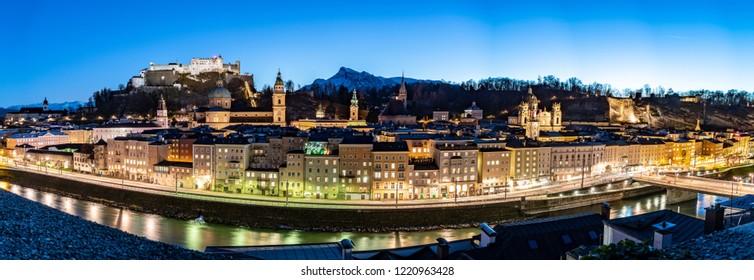 Salzburg night panorama above the city