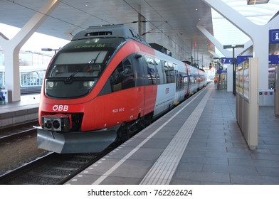 SALZBURG, NOV. 24: Electric train at the Salzburg Hauptbahnhof , the main railway station of the city and region taken in  Salzburg, Austria taken on Nov. 24, 2017.
