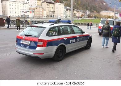 SALZBURG, Nov. 25: Austrian police patrol car parking in the street of Salzburg, Austria taken on Nov. 25, 2017.