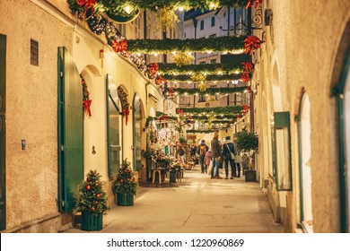 Salzburg old town city streets decorated for Christmas advent