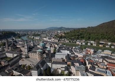 Salzburg panoramic view from Hohensalzburg fortress tower