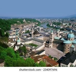 Salzburg and Salzach River, Austria