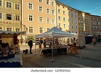 Salzburg, Salzburger Land, Austria - September 11, 2018: Salzburger Brezen market place at the traditional farmer market at University square.