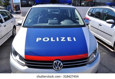 SALZBURG - SEPT 11: Police cars in Salzburg on September 11. 2015 in Austria