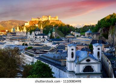 Salzburg skyline at sunset, Austria
