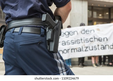 """Salzburg, Salzburg State / Austria - June 02 2018: Police keep the peace at a demonstration by the far right group, Identitare Bewegung"""