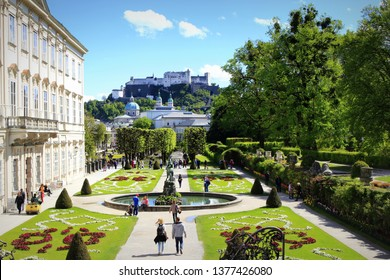 Salzburg,Austria-May 2nd 2017:Mirabell Palace-historic building with its gardens- a listed cultural heritage monument and part of the Historic Centre of Salzburg UNESCO World Heritage Site
