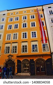 Salzburg,Austria-May 2nd 2017:Mozart's birthplace-the birthplace of Wolfgang Amadeus Mozart at No. 9 Getreidegasse in Salzburg,Now a museum, it introduces visitors to the early life of the composer