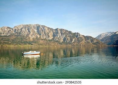 Salzburger Land Austria: View over lake Attersee - Austrian Alps