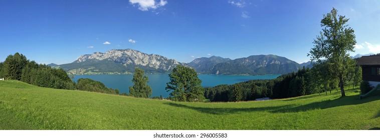 Salzburger Land Austria: View over lake Attersee - Austrian Alps, Europe