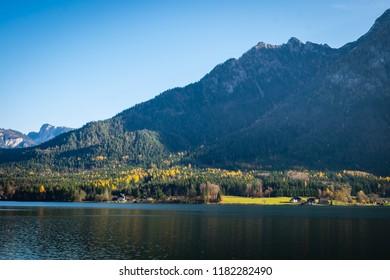 Salzkammergut, Austria - November 5, 2017: Salzkammergut region with picturesque small villages like Hallstatt, St. Wolfgang and St. Gilgen is one of the most popular tourist regions in Austria.