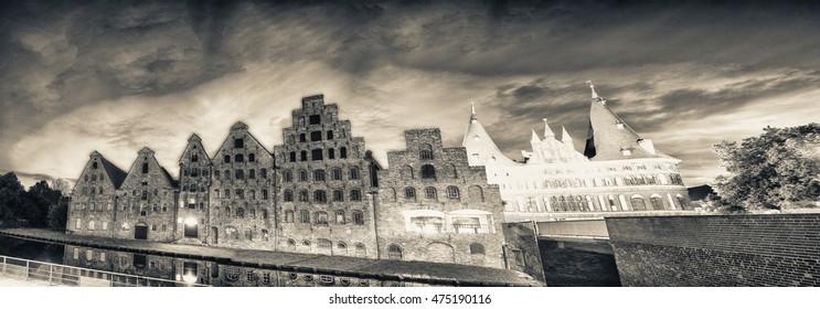 Salzspeicher, historic brick buildings of Lubeck, Germany.