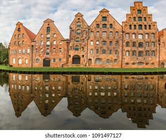 The Salzspeicher (salt storehouses), six historic brick buildings on the Upper Trave River in Luebeck, Schleswig-Holstein, northern Germany.