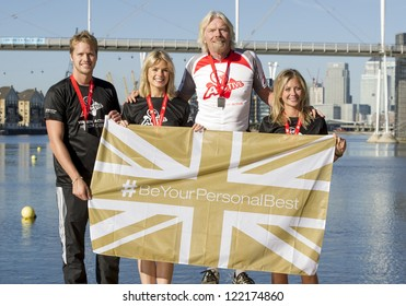 Sam Branson, Isabella Calthorpe, Sir Richard Branson and Holly Branson at the photocall of the Virgin Active London Triathlon at ExCel in London, England 22nd Sept 2012