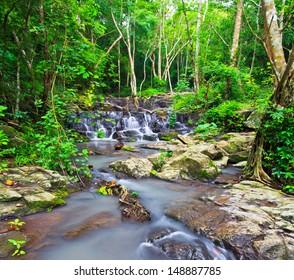 sam lan waterfall in  rainforest asia thailand