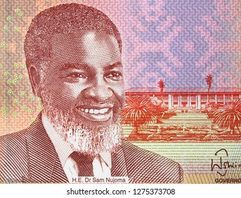 Sam Nujoma portrait on Namibia 20 dollars banknote close up. President of Namibia.