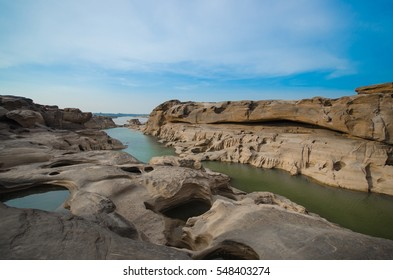 Sam pan bok grand canyon of thailand at Ubonratchathani, beautiful nature big rock near Mekong river. architecture of nature