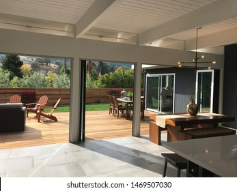 Sam Rafael, California/USA: July 15, 2019: indoor outdoor living space in a classic mid century eichler home in California