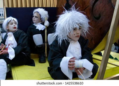 Samabor, Croatia - February 26, 2011 : Costumed kids, before fašnik carneval in samabor, croatia. Samoborski Fasnik has a long tradition of 189 years and among the oldest and largest Croatian Carnival