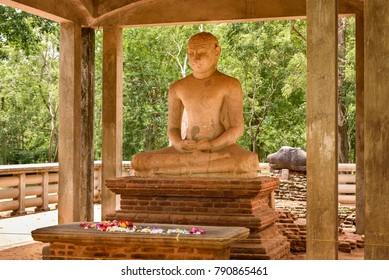 Samadhi Statue in ancient ruines town Anuradhapura, Sri Lanka. A temple in Anuradhapura, with seated buddha, Sri Lanka.