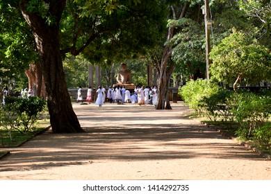 The Samadhi Statue is situated at Mahamevnāwa Park in Anuradhapura, Sri Lanka. The Buddha is depicted in the position of the Dhyana Mudra. Pic – Anuradhapura, Sri Lanka 23 March 2019