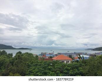 Samae San, Chonburi, Thailand-October 18, 2020 : View of Village community Samae San is adjacent to the sea.