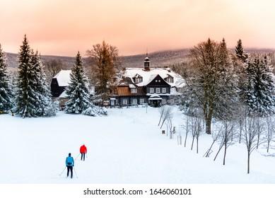 Samalova cottage - old wooden hunting chateau on Nova Louka near Bedrichov, Jizera Mountains, Czech Republic. - Shutterstock ID 1646060101