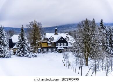 Samalova cottage - old wooden hunting chateau on Nova Louka near Bedrichov, Jizera Mountains, Czech Republic. - Shutterstock ID 1872990790