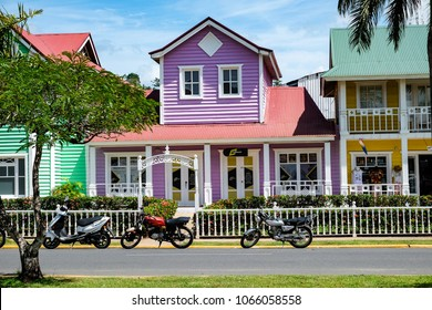 Samana, Dominican Republic, 03.20.2018: Beautiful purple pastel house in Samana