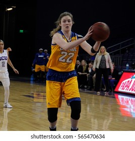 Samantha Waldron guard for the University of Missouri Kansas City at GCU Arena in Phoenix Arizona USA January 26,2017.