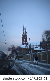 SAMARA - 6 DECEMBER 2018: Catholic Church in Samara in winter