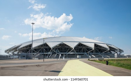 Samara Arena football stadium. Samara - the city hosting the FIFA World Cup in Russia in 2018. Sunny day on August 4, 2018