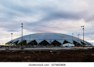 Samara Arena, Russia - April, 2018: football world cup 2018 stadium  building. Layout of adjacent territories.