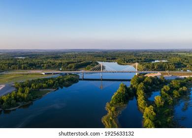 Samara cable-braced bridge bridge with road and moving cars