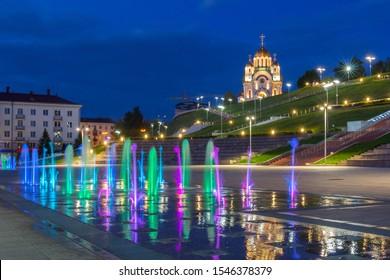 Samara city, Samara region/Russia - may 20 2019: Dancing fountain on the Glory Square
