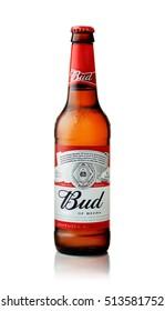 SAMARA - NOVEMBER 02, 2016: Product shot of Budweiser beer bottle on  white background