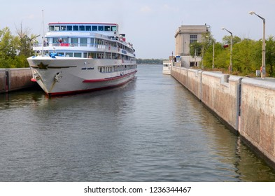 Samara Oblast, Volga Region, Russia - September, 2015: Cruise liner in the sluice of Kuybyshev Reservoir.