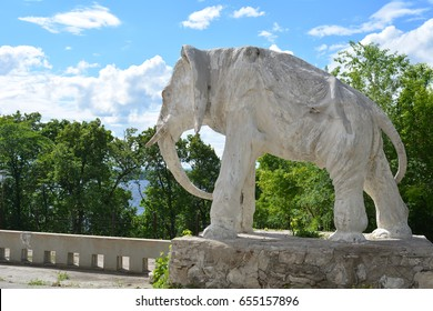 Samara, Russia - 07.06.2017: cottage of the artist Konstantin Golovkin. Sculpture of an elephant in the garden. It is a unique architectural work, unfortunately, rather damaged.