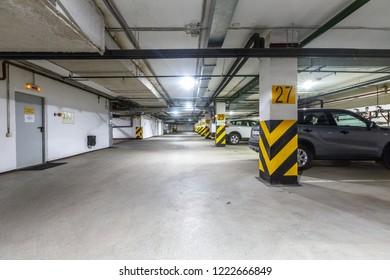 Samara / Russia - 10 3 2017: underground parking in downtown building