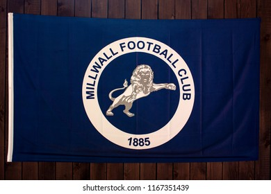 Samara, Russia- 24 August 2018: Flag of the English soccer team Millwall. Editorial use only.