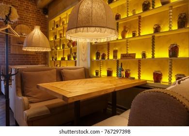 Samara, Russia - 30 November 2017: Interior of a new restaurant Hachapuri in Samara with georgian cuisine. this restaurant was open in 2017 and became popular.