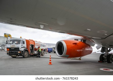 Samara, Russia - 31 October 2017: Airplane fueling from fuel track in Samara Airport. New airport was built in 2015 before FIFA 2018 and can serve to 3,5 million passengers every year.
