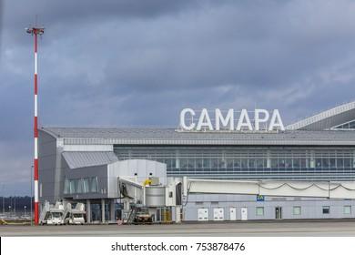 Samara, Russia - 31October 2017: New terminal of Samara airport. New terminal was built in 2015 as a part of preparations to 2018 FIFA championship.