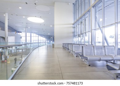 Samara, Russia - 31October 2017: New waiting area in passenger terminal of Samara airport. New KUF terminal was built in 2015 as a part of preparations for 2018 FIFA championship.
