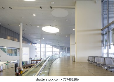 Samara, Russia - 31October 2017: New passenger terminal interior of Samara airport. New KUF terminal was built in 2015 as a part of preparations for 2018 FIFA championship.