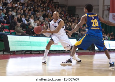 SAMARA, RUSSIA - APRIL 01: Hayes Jarvis James of BC Krasnye Krylia, with ball, is on the attack during a BC Khimki game on April 01, 2012 in Samara, Russia.