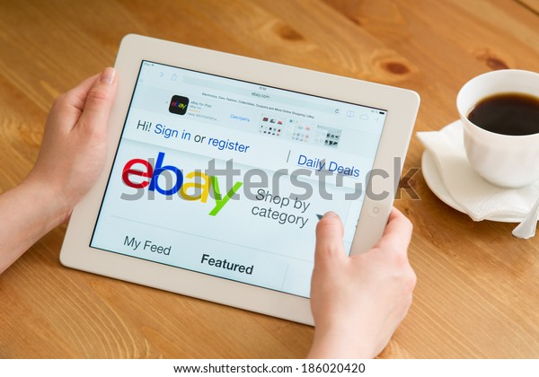 Samara, Russia - April 07, 2014: Close up of ebay's website on a ipad screen. ebay is one of the largest online auction and shopping websites announces a new application for mobile devices