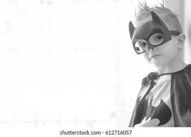 Samara, Russia - April 1,2017 ; The boy in Batman costume.Batman is a popular charactel Marvel.