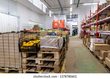 Samara, Russia - April 13, 2019: Interior of the retail family discounter Pobeda. One of retail warehouse store in Russia, selling food, furniture and housewares